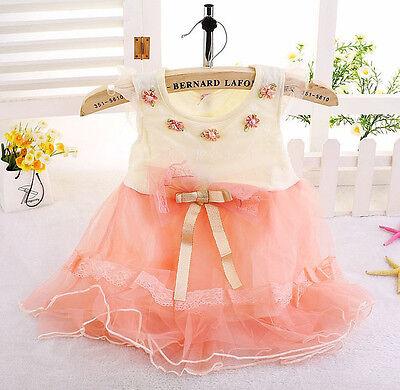 Baby Girls Newborn Kids Princess One-piece Party Wedding Dress Lace Vest Skirt