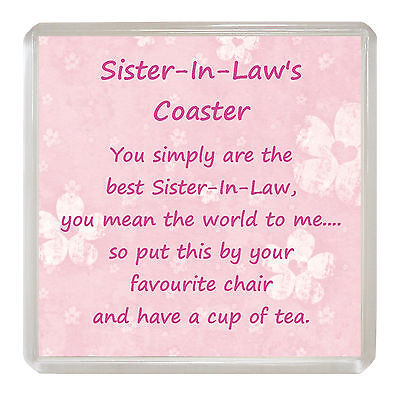 Sister In Law Drink Coaster Fun Poem Novelty Birthday Christmas Gift Present Ebay