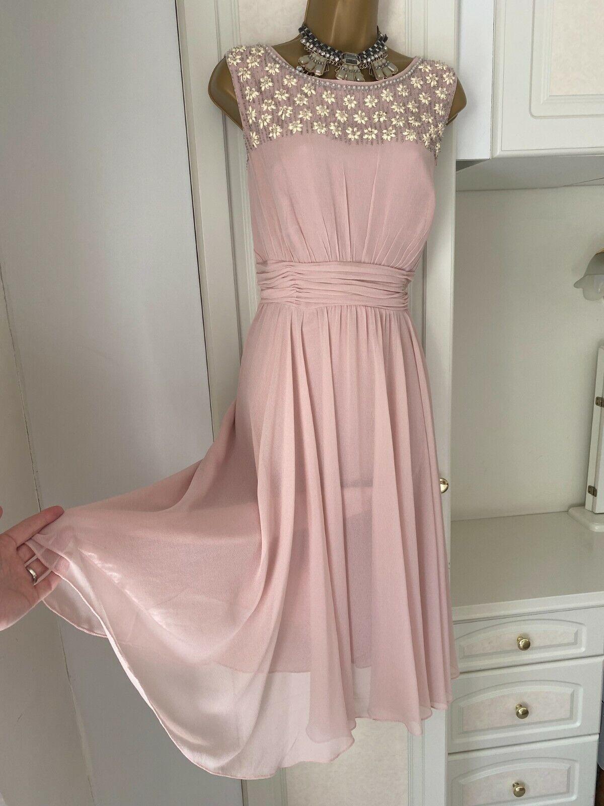 Jenny Packham Size Uk 16 Classy Lined Chiffon/Beaded Quality Dress Bust 40