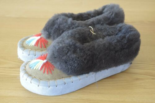Womens  Natural Leather Sheepswool Slippers Moccasins All Sizes