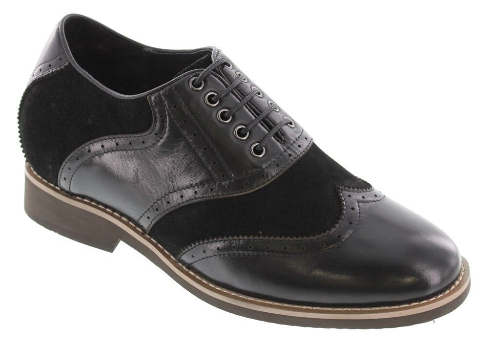 CALTO G65010 - 3.2 Inches Elevator Height Increase Nubuck Black Casual Lace Up