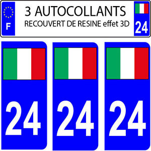 3 stickers plaque immatriculation auto doming 3d resine drapeau italie n 24 ebay. Black Bedroom Furniture Sets. Home Design Ideas
