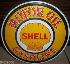 """SHELL MOTOR OIL/ GASOLINE , ROUND 12"""" METAL WALL SIGN OIL/PETROL/GAS,USA"""