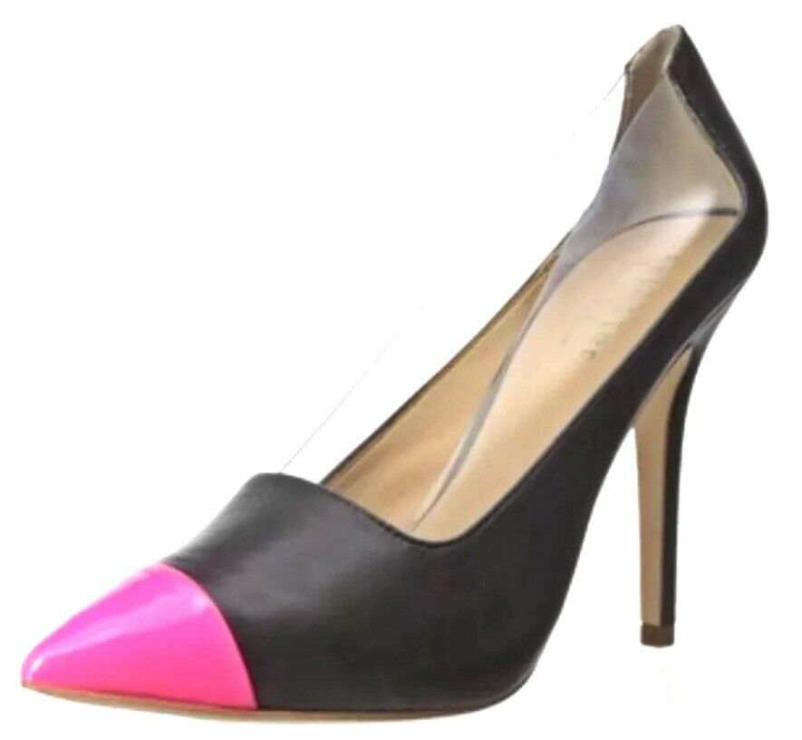 Nicole Miller Miller Miller Martinique Black Pink Clear Leather Pump Size 8 Medium New In Box 625b3d