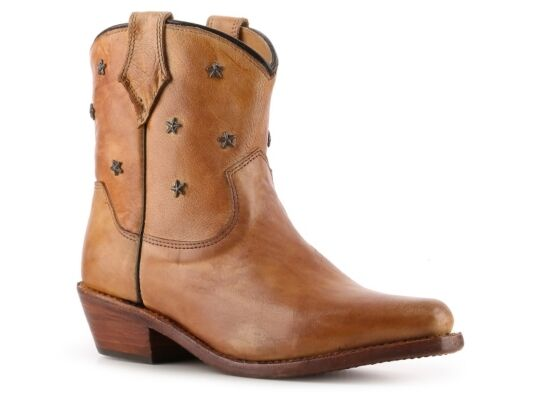 Bed Stu Women's Star Western Tan Leather Bootie Ankle Boot size 8.5
