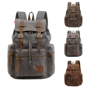 1PC-Mens-Army-Canvas-Backpack-Rucksack-School-Satchel-Travel-Camping-Hiking-Bag