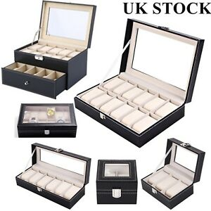 Watch Box Leather Display Case Organizer 6 Slot Watches, Parts & Accessories Boxes, Cases & Watch Winders