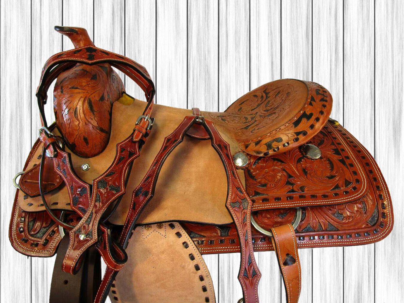 Usado 16 17 duro asiento Rodeo Rancho Trail Roper amarrar Cowboy Western Horse Saddle