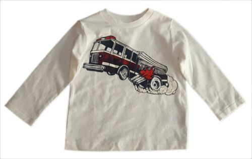 Baby GAP Boy IVORY RED Fire Engine Long Sleeved T-Shirt Tee Top 6-24m £7.95