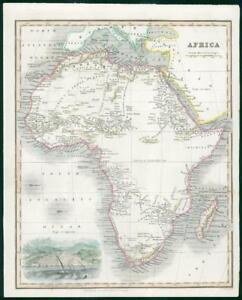 1834 Original Antique Map Of Continental Africa Madagascar Algiers
