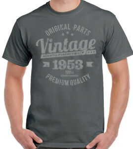 vintage-an-1953-Qualite-Premium-hommes-65th-Birthday-T-shirt-pour-65-ans