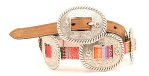 Serape-amp-Silver-Concho-Belt-NOCONA-Brown-Leather-Western-COWGIRL-N3471897