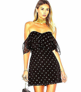 New Nwt 188 Anthropologie Black Gold Polka Dot Cocktail Dress