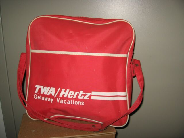 TWA Travel Bag - Vintage 1960's Trans World Airlines Hertz Car Rental Carry Tote