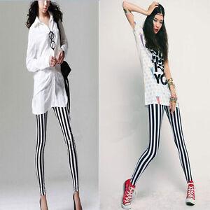 Women-Girl-Leggings-Skinny-Stretchy-Pencil-Pants-Sexy-Trousers-Slim-Multi-Stripe
