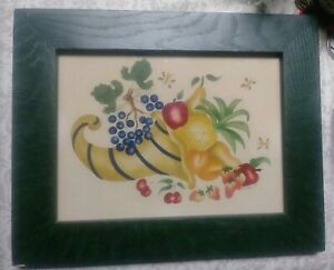 Folk Art Primitive Theorem Painting Vintage Signed Doris Boyer Listed Still Life