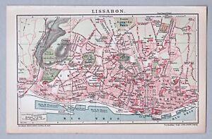 Lissabon-Lisboa-Alte-Karte-Stadtplan-1902-Lithographie