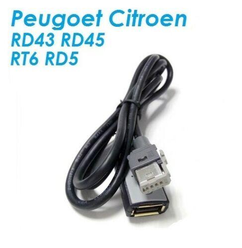 Cable USB PEUGEOT CITROEN AUTORADIO RT6 RD9 RD5 AUX USB PSA VENDEUR PRO REF2