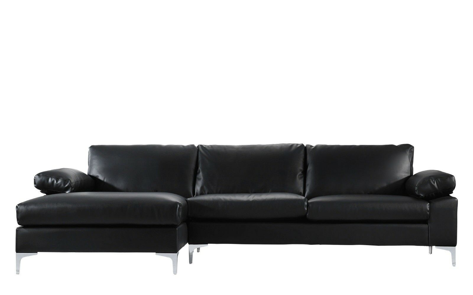 Modern Large Faux Leather Sectional Sofa L Shape Couch Extra Wide Chaise Black