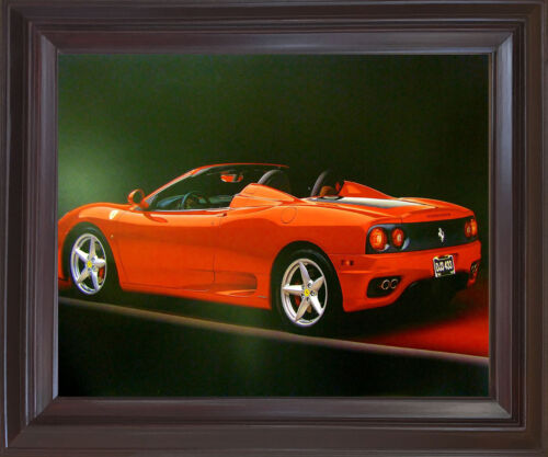 Red Ferrari 360 Modena Spider Sports Car Mahogany Framed Wall Art Decor Picture