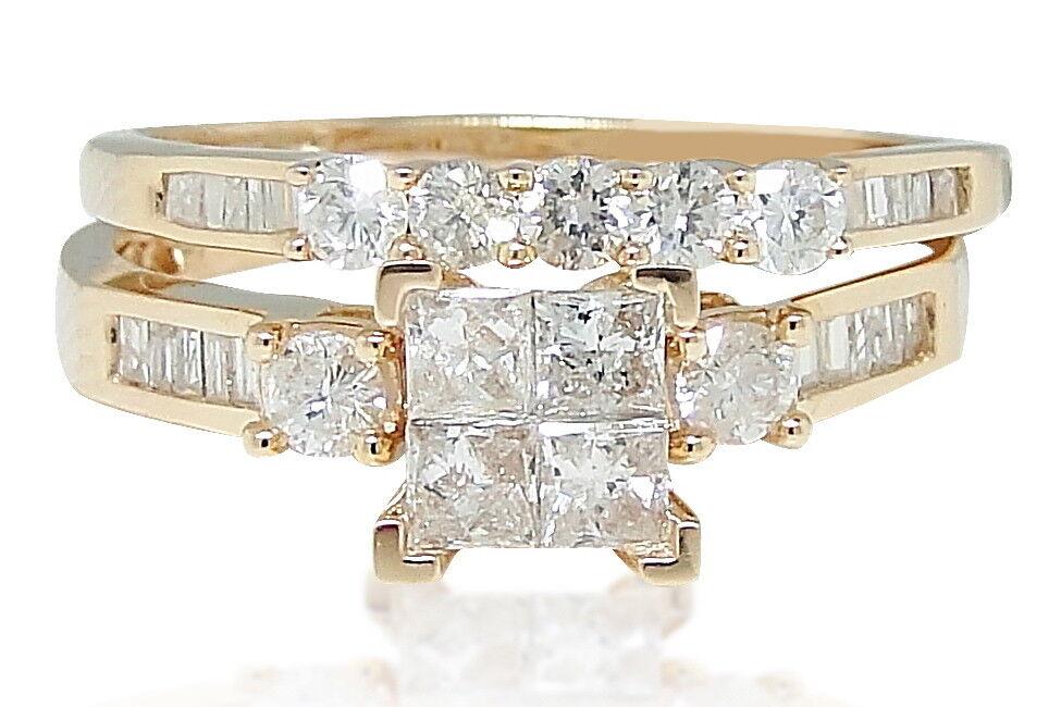 10K pink gold Princess Round Cut Diamond Bridal Wedding Engagement Ring 1Ct