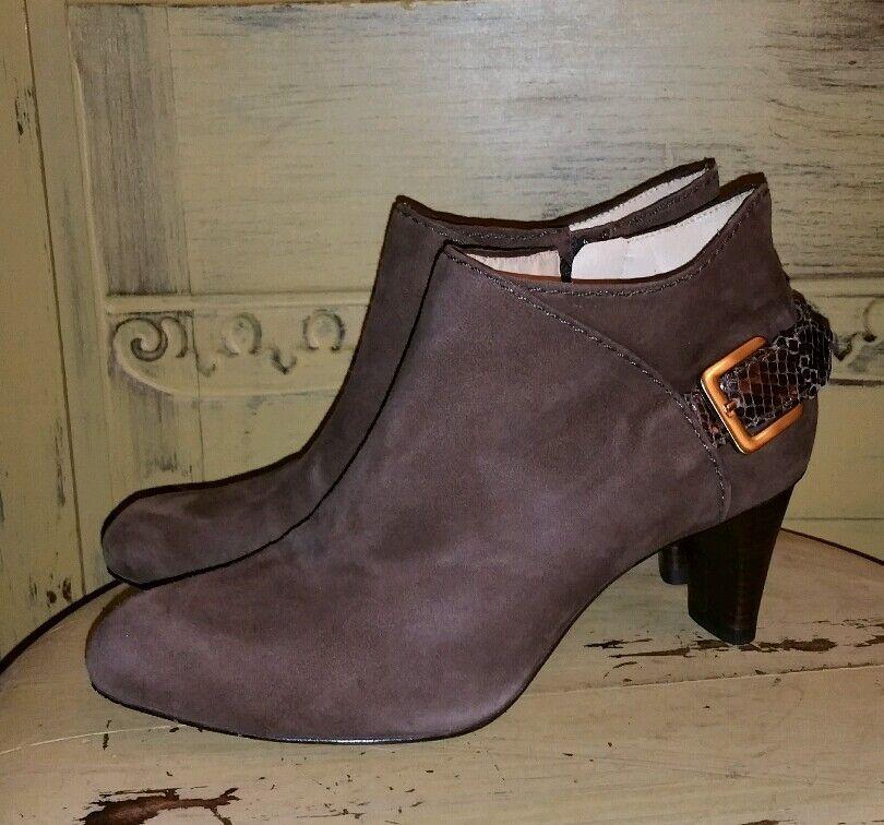 COLE HAAN braun SUEDE CROC HIGH HEEL ANKLE Stiefel 6 M AIR StiefelIES HARNESS StiefelIES