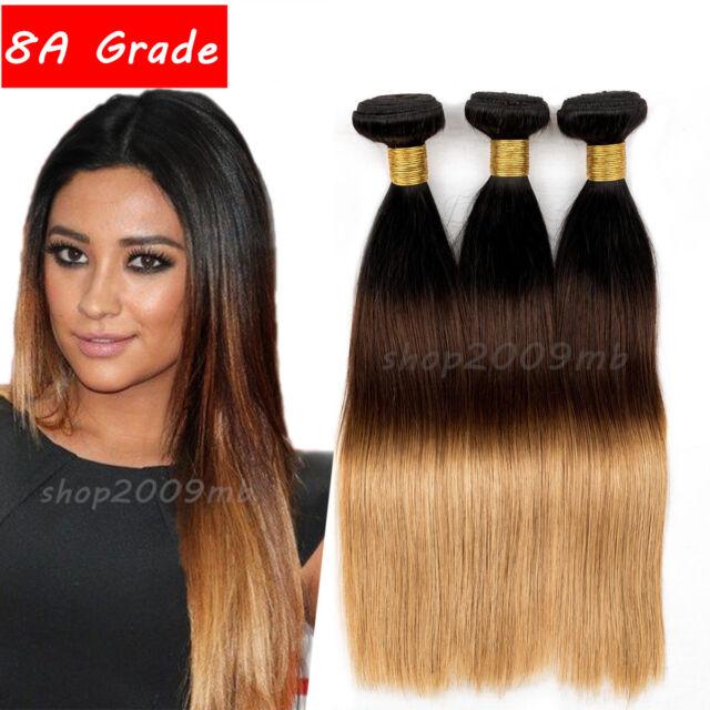 Straight Weave Human Hair Extension 3 Tone Ombre Brazilian Virgin