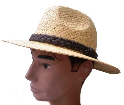 Uomo Cappello in paglia di carta paglia elegante straßenhut VANIGLIA colorati Protezione Solare