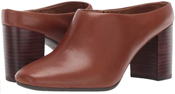 Aerosoles Cast Stone Sz US 10 M EU 41 Women's Block Heel Leather Mules Dark Tan