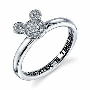 DISNEY-STERLING-SILVER-GENUINE-DIAMOND-LAUGHTER-IS-TIMELESS-RING-7-MICKEY-MOUSE