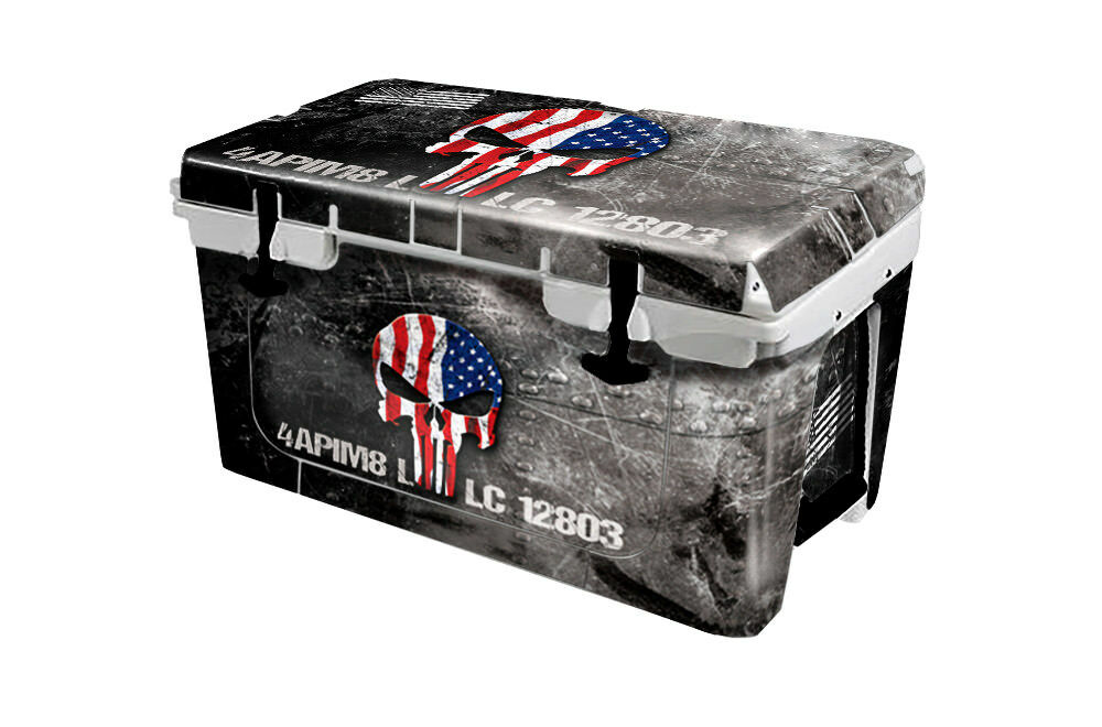 USATuff Cooler Wrap Decal 'Fits New Mold' RTIC 45QT FULL USA Ammo Skull