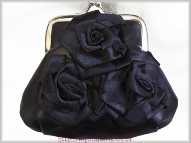 Kleines Viktorianisches Portemonnaie Geldbeutel schwarz Rosen Gothic Vintage