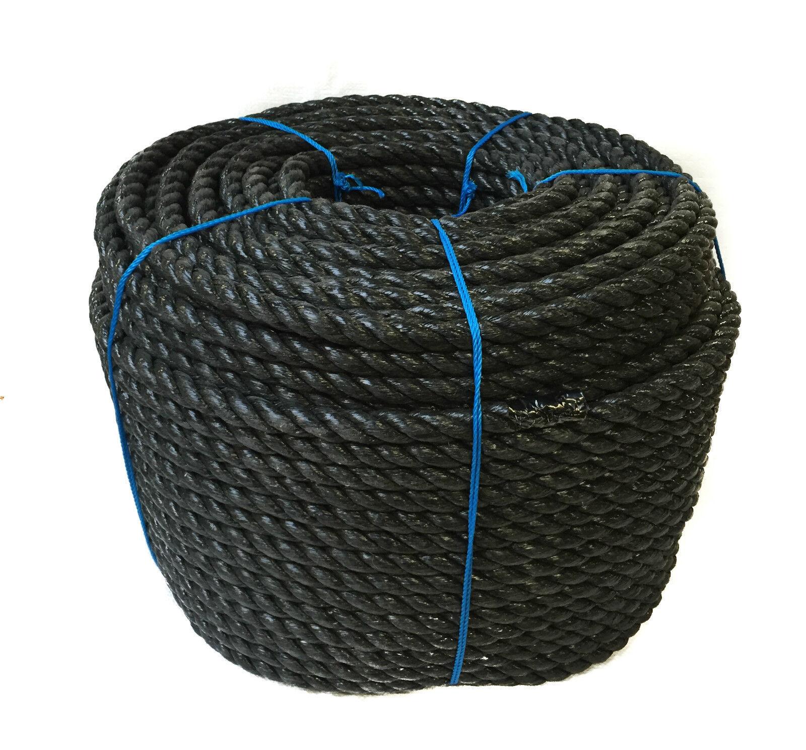 24 mm x 220 Meter schwarz 3 Stränge Polypropylen gespalten Film Seil - Marine