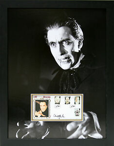CHRISTOPHER-LEE-Signed-25x20-Framed-Photo-Display-DRACULA-Hammer-Horror-COA