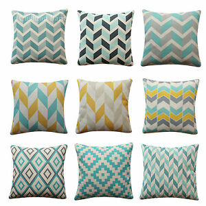 Yellow Blue Grey Herringbone Geometric Cushion Cover Scandinavian Pillow Cover eBay