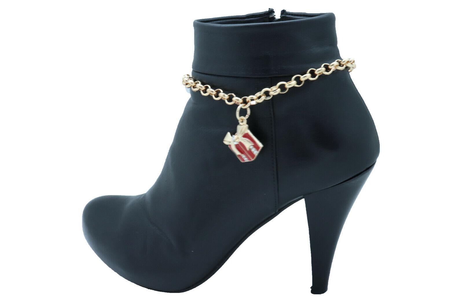 Women Gold Metal Chain Boot Bracelet Shoe Red Gift Present Charm Holiday Season