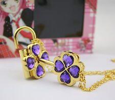 Purple Shugo Chara Cosplay Openable Lock & Key Necklace Pendant Great Gift