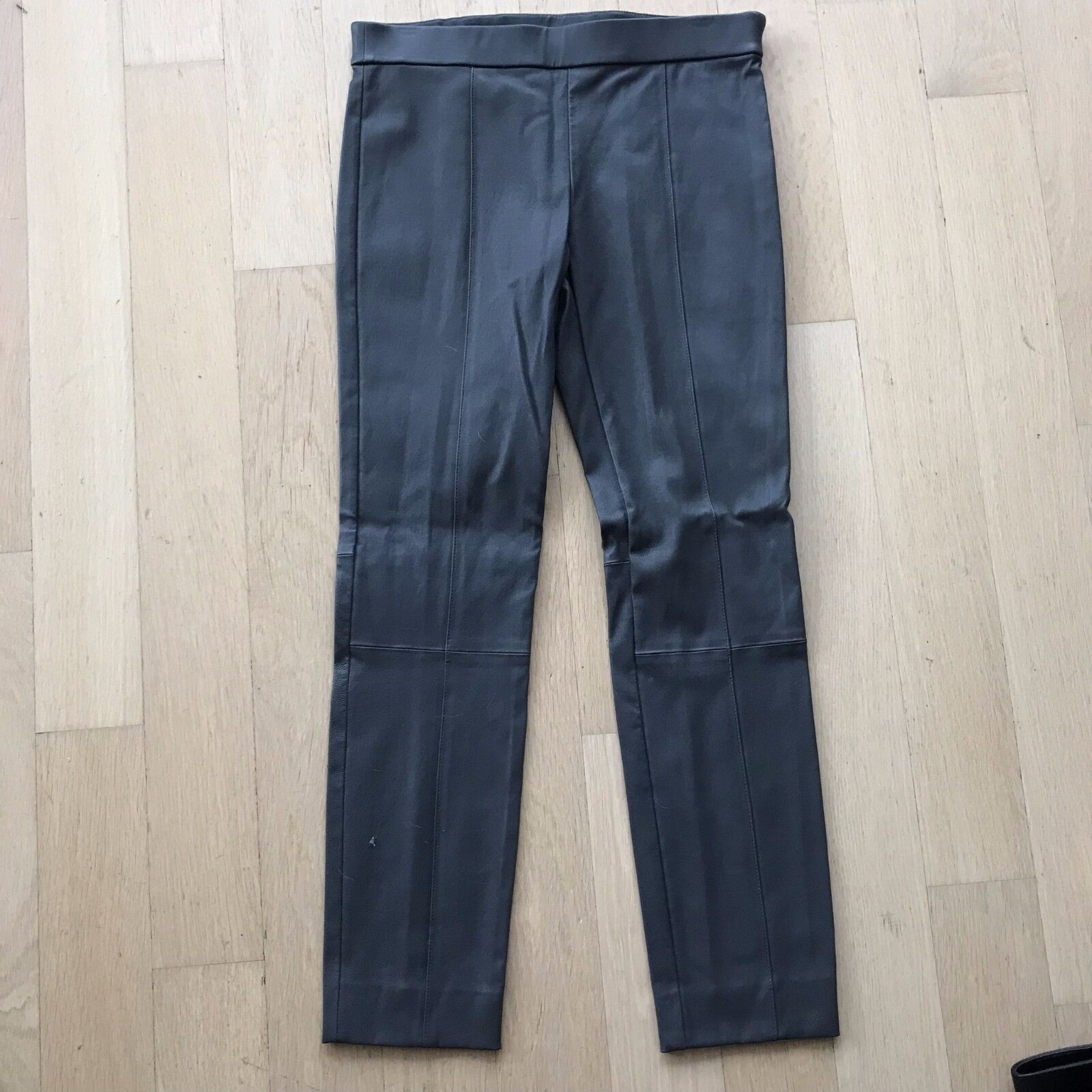 Women's Grey Spilt Hem Leather Pants Size M