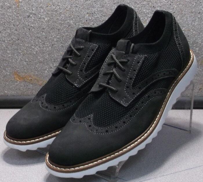 591255 PF50 para hombres zapatos talla 8.5 M Negro Cuero Tela Encaje Johnston & Murphy