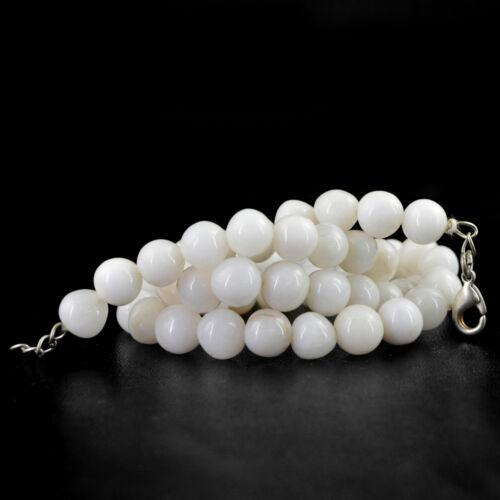 RARE 242.50 Cts Naturel Riche agate blanche non traités Forme Ronde Perles Collier