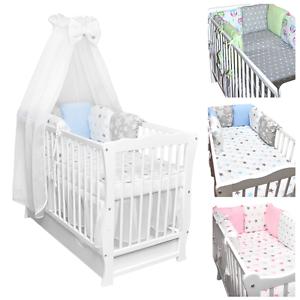 Details zu Babybett Kinderbett weiß Stars Bettset komplett Matratze  Schublade 120x60cm NEU
