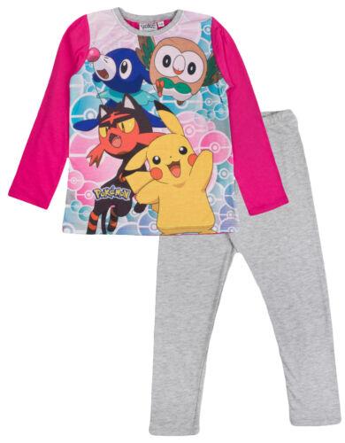 Filles Pokemon Pyjamas pleine longueur PIKACHU Sun and Moon Pyjama 2 pièces pyjama Set