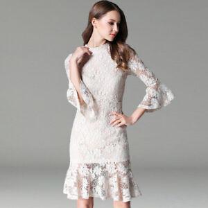 super popular e45cc a45e9 Dettagli su Elegante vestito abito bianco pizzo maniche tubino slim morbido  4246