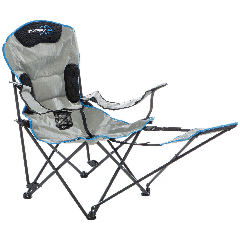 Skandika silla de camping Relax plegable acero hasta 130 kg portabebidas nueva