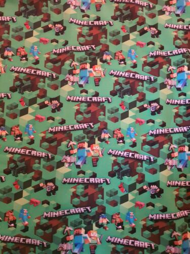 Minecraft Stoff Sommersweat Jersey Comic Meterware  handmade nähen Kinderstoff