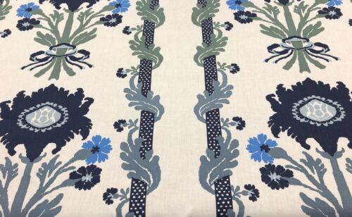 Blues Green Ecru Quadrille Scrolling Floral Stripe Linen Fabric-Henriot Floral