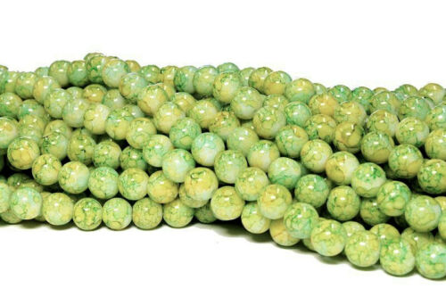 Apple Green with a hint Yellow and White 8mm 20 Glass Beads BD226