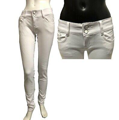 Womens Skinny Biker Stretch Denim Jeans Ladies High Waisted Knee Ribbed Jeggings