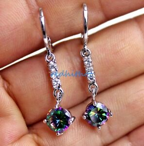 18K-White-Gold-Filled-1-5-039-039-Round-MYSTICAL-Rainbow-Topaz-Women-Hoop-Earrings