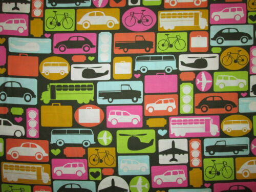 RETRO VEHICLES VW  BUG BUS CARS TRUCK HELICOPTER MULTI COLOR COTTON FABRIC FQ